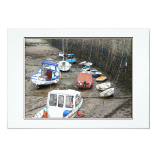 Lynmouth Harbor with Boats. Invite