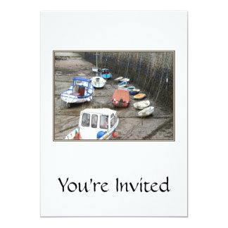 Lynmouth Harbor with Boats. Personalized Invitations