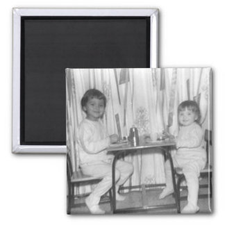 lynn and lora at the little table 2 inch square magnet