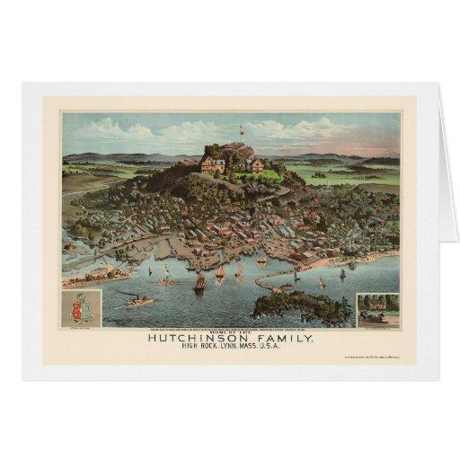 Lynn, mapa panorámico del mA - 1881 Felicitaciones