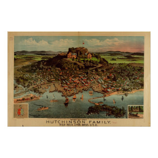 Lynn Massachusetts 1881 Antique Panoramic Map Posters