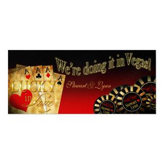 "Lynn's METALLIC ICE Las Vegas Deluxe Wedding 4"" X 9.25"" Invitation Card"