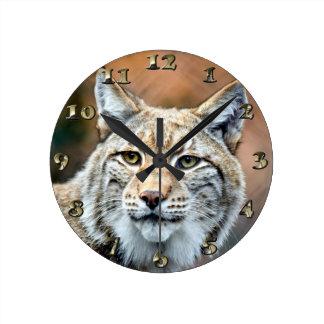 Lynx Bobcat Wildlife Predator Cat Round Clock