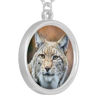 Lynx Bobcat Wildlife Predator Cat Silver Plated Necklace