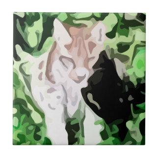 lynx cat painting tiles