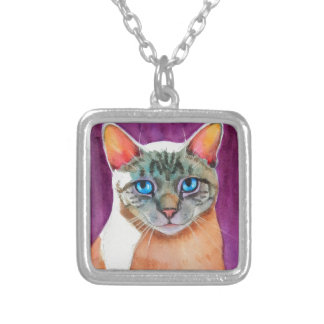 Lynx Point Siamese Cat at Kitty Angels Square Pendant Necklace