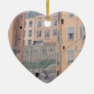 Lyon, Francia - ornamento del árbol de navidad Adorno De Cerámica En Forma De Corazón