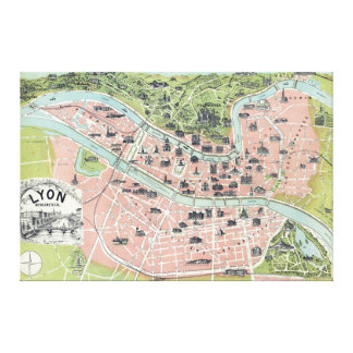 Lyon Monumental Map Garnier Freres Paris 1894 Canvas Print