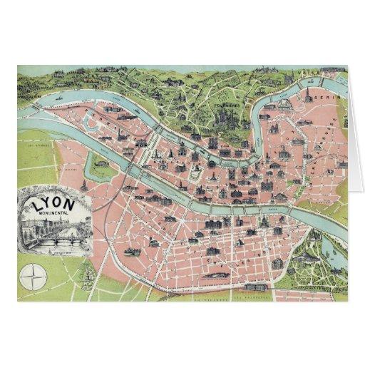 Lyon Monumental Map Garnier Freres Paris 1894 Cards