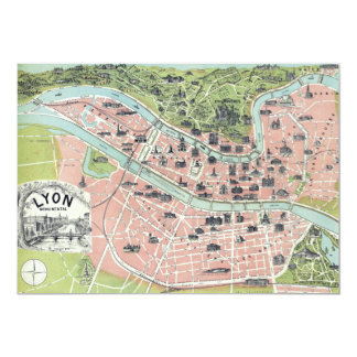 Lyon Monumental Map Garnier Freres Paris 1894 Card