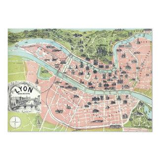 Lyon Monumental Map Garnier Freres Paris 1894 Custom Invitations