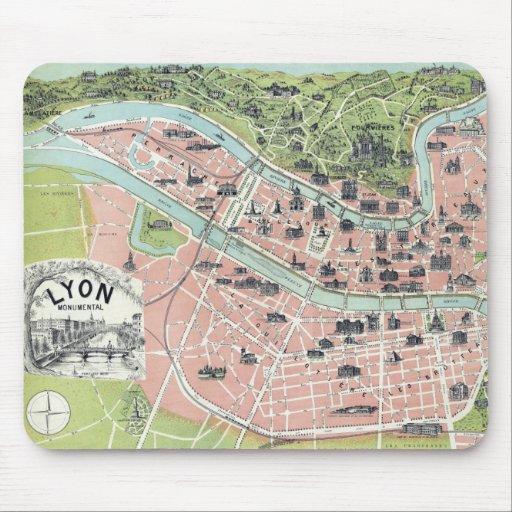 Lyon Monumental Map Garnier Freres Paris 1894 Mousepad