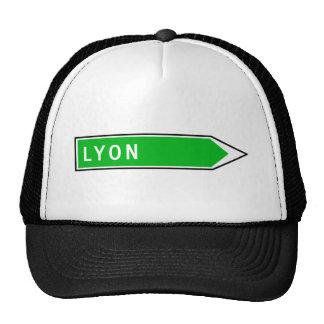 Lyon, señal de tráfico, Francia Gorros Bordados