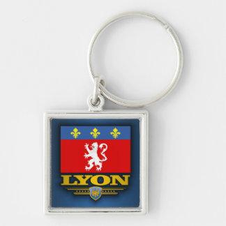 Lyon Silver-Colored Square Keychain
