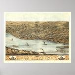 Lyons 1868 Antique Panoramic Map Poster