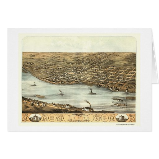 Lyons, IA Panoramic Map - 1868 Greeting Card
