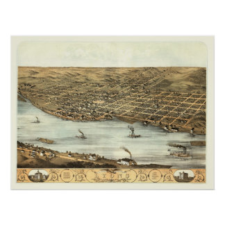 Lyons, IA Panoramic Map - 1868 Poster
