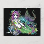 """Lyra"" Tropical Rainbow Mermaid Art Postcard"