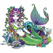 mermaid, tropical, rainbow, siren, fish, coral, sea, ocean, fantasy, art, fairy, faerie, gothic, lyre, turtle, treasure, oceans, Photo Sculpture with custom graphic design