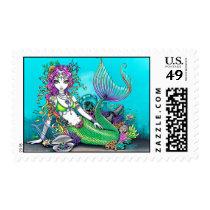 mermaid, tropical, fish, koi, tattoo, siren, shells, rainbow, ocean, sea, fairy, fae, faerie, fairies, faery, jewelry, myka, jelina, art, mermen, mermaids, Stamp with custom graphic design