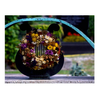 Lyre With Strawflowers Postcard