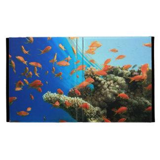 Lyretail anthias on coral reef iPad case