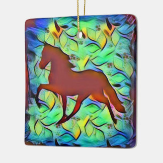Lyrical Abstraction Horse Ceramic Ornament