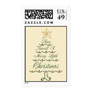 Lyrical Christmas Tree Holiday Postage Stamps