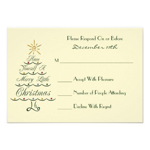 Lyrical Christmas Tree RSVP Card Announcements
