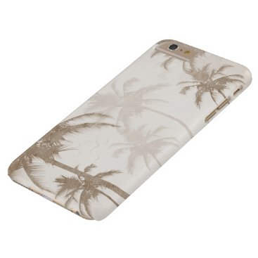 Beach Themed Lyrical Vintage Sepia Tropical Palm Trees Birds Barely There iPhone 6 Plus Case