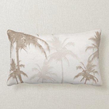 Beach Themed Lyrical Vintage Sepia Tropical Palms Birds Lumbar Pillow
