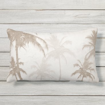 Beach Themed Lyrical Vintage Sepia Tropical Palms Birds Outdoor Pillow