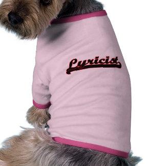 Lyricist Classic Job Design Dog Clothes