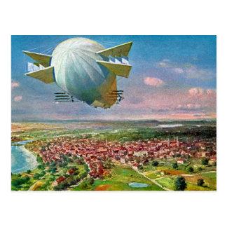 LZ3 Zeppelin Vintage Postcard 1908 Restored