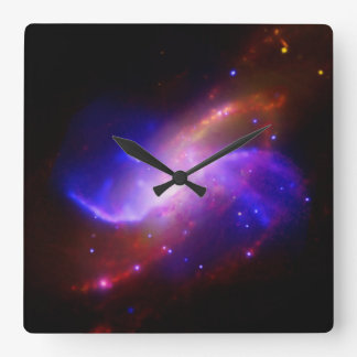 M106 Spiral Galaxy emission NASA Square Wall Clock