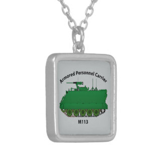 M113-Armored Personnel Carrier APC Square Pendant Necklace