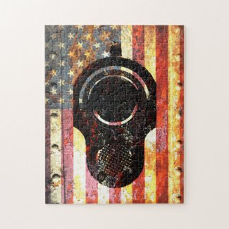 M1911 Colt Muzzle on Rusted  American Flag Jigsaw Puzzle