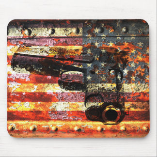 M1911 Silhouette On Rusted American Flag Mouse Pad