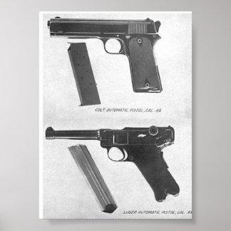 m1911 vs. Luger P08 pistol Poster