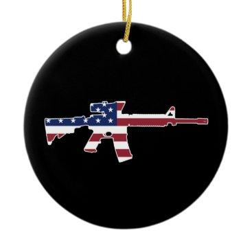 M4 & American Flag Ceramic Ornament