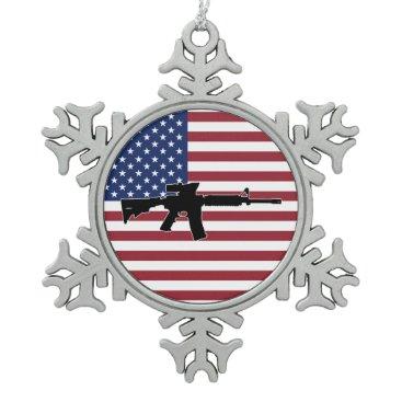 M4 & American Flag Snowflake Pewter Christmas Ornament