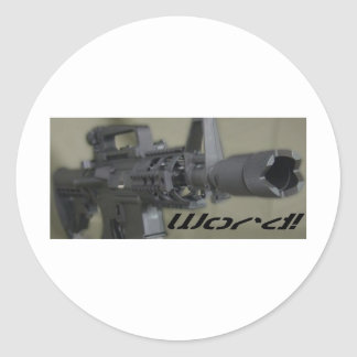 M4 word classic round sticker