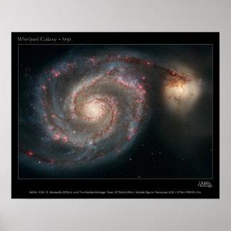 M51 Whirlpool y galaxias del compañero Póster