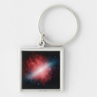 M82, la galaxia con un viento de Supergalactic Llavero Cuadrado Plateado