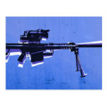 M82 Sniper Rifle on Blue Postcard