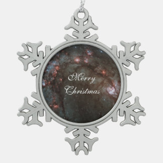 M83 Spiral galaxy Snowflake Pewter Christmas Ornament