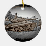 M-10 Tank Destroyer WWII Double-Sided Ceramic Round Christmas Ornament