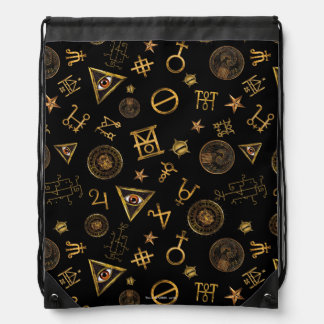 M.A.C.U.S.A. Magic Symbols And Crests Pattern Drawstring Backpack
