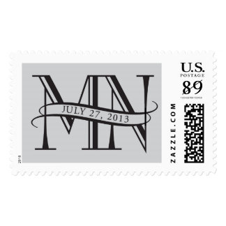 M and N monogram stamp with ribbon