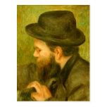 M Bernard man with the black hat by Pierre Renoir Postcards